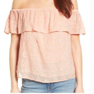 Lucky Brand Off Shoulder Embroidered Blush Lace